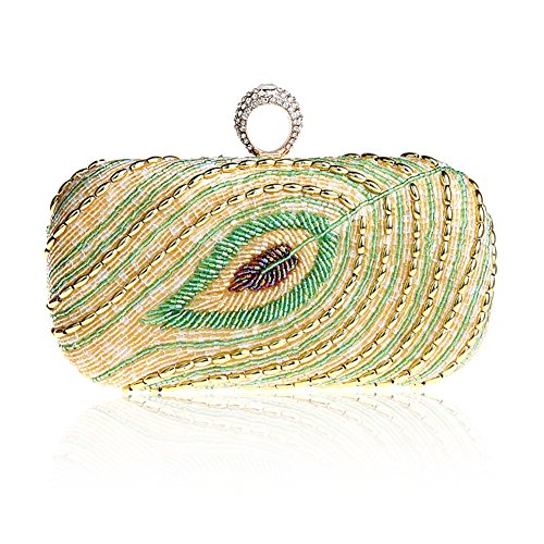 TopTie Glamorous Clutch Peacock Feather Pattern Beaded Handcase
