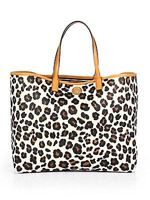 Tory Burch Womens Kerrington Shopper, Ocelot (Leopard), One Size