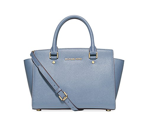 Michael Kors Selma Md Satchel Leather PALE BLUE