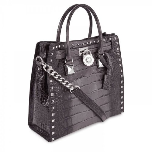 Michael Kors Studded Silver Grey Ombre Crocodile Embossed Leather Croco Hamilton NS Large Satchel Tote
