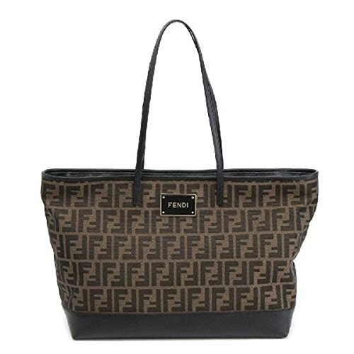 Fendi LOGO ROLL BAG Jacquard Zucca Logo Large Tote Handbag 8BH185 – Brown