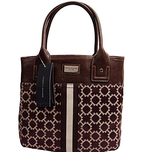 Tommy Hilfiger Small Tote Bag Handbag Purse, Brown