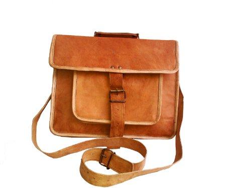 Leather Messenger Satchel Shoulder Laptop Bag Men Women 15 Inch Macbook & Laptop