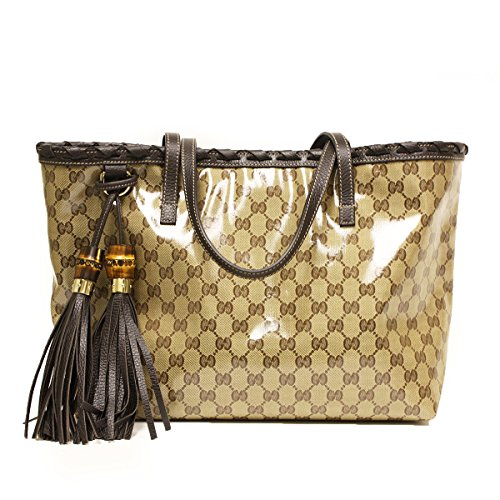Gucci 354665 Gucci Gg Logo Coated Canvas and Brown Leather Bamboo Tassel Tote Bag