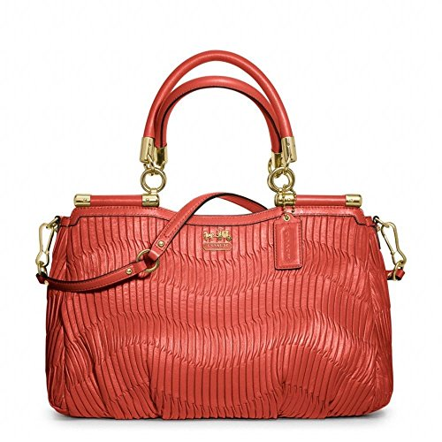 Coach Madison Gathered Leather Carrie Satchel Bag F32586 Coral