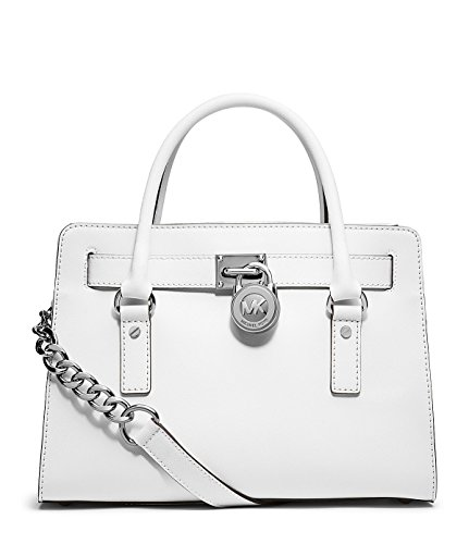 MICHAEL Michael Kors Hamilton East West Satchel in Optic White whith Silver Hardware