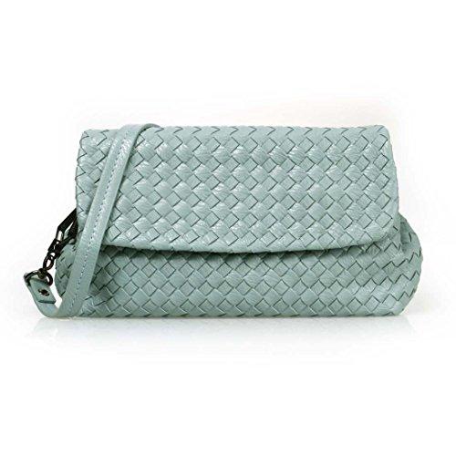BMC Womens PU Leather Solid Color Woven Lattice Pattern Fashion Shoulder Handbag