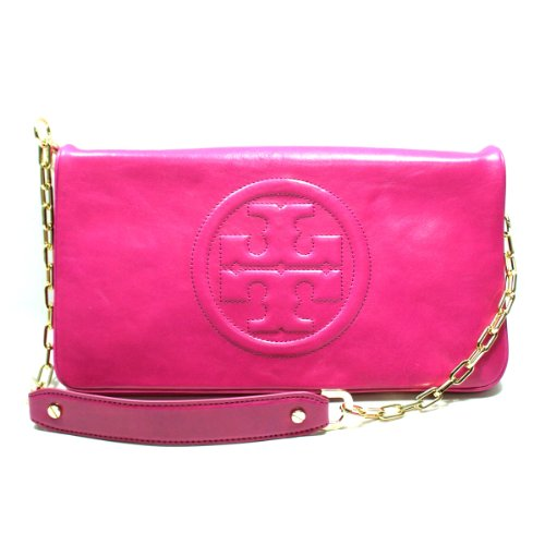 Tory Burch Magenta Leather Bombe Reva Clutch/ Shoulder Bag (Magenta Pink) #90009600
