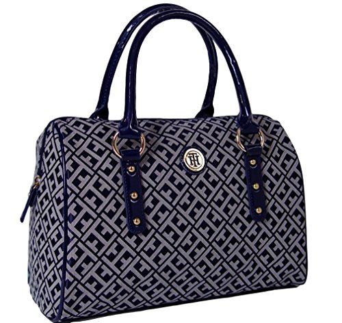 Tommy Hilfiger Logo Satchel Tote Bag Handbag Purse, NAVY BLUE