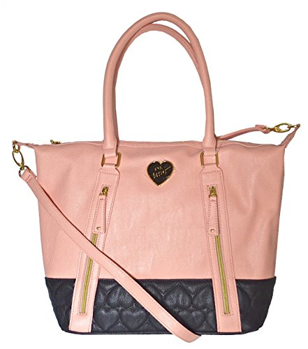 Betsey Johnson Quilted Heart Double Zip Tote Purse Bag Handbag Blush