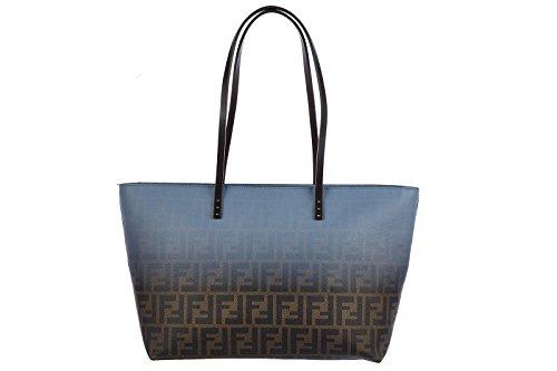 Fendi women's leather shoulder bag original bicolor roll zucca blu