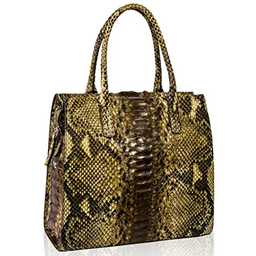 Ghibli Italian Designer Topaz Brown Python Leather Tall Tote Structured Bag