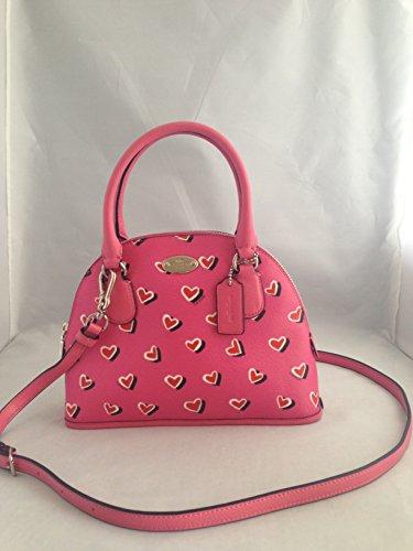 Coach Mini Handbag Shoulder Bag Crossbody Satchel Purse Pink Red Hearts