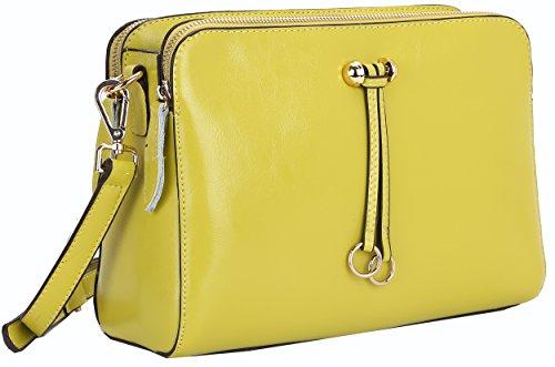 Heshe Ladies Women's Genuine Leather Candy Color Cross Body Shoulder Bag Satchel Handbag