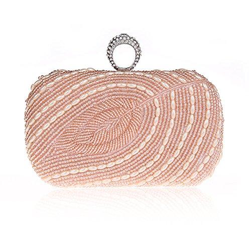 TopTie Exquisite Bead Leaf Handcase One Rhinestone Ring Clutch