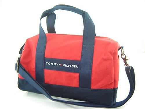 Tommy Hilfiger Mini Duffle Canvas Handbag Purse Navy Blue Red
