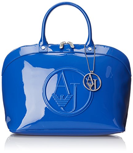 Armani Jeans Bugatti In Patent Faux Leather with Pendant Top Handle Bag, Blue, One Size