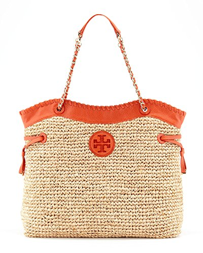 Tory Burch Marion Straw Slouchy Tote in Natural and Blood Orange