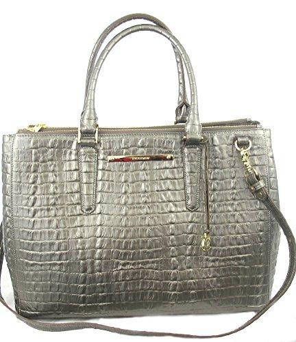 Brahmin Lincoln Satchel Pyrite Grey La Scala Croco Leather