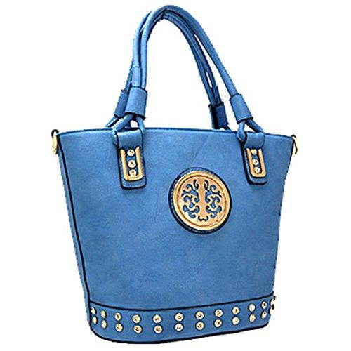 Classy Rhinestone Fashion Handbag Purse Blue