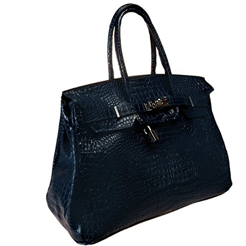 HS 5009-1 BLU DAVINA COCCO Made in Italy Crocco Embossed Navy Blue Structured Satchel