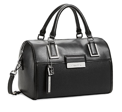 Calvin Klein Valerie Sleek Barrel Satchel Bag Handbag (Black)