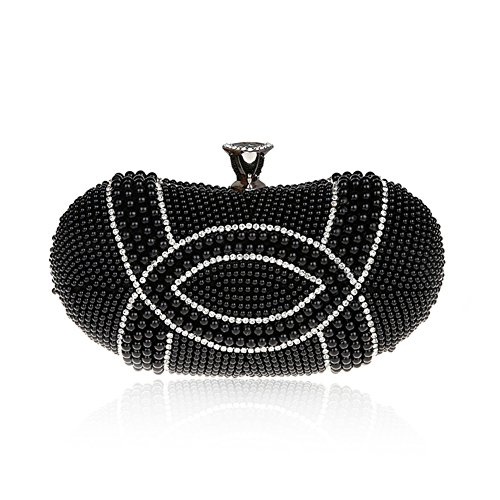 TopTie Pearl And Rhinestone Embellished Carry Bag Pea Shaped Clutch Case