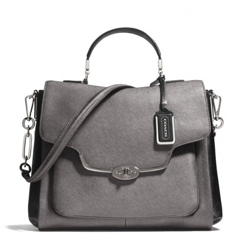 Coach Madison Spectator Saffiano Sadie Flap Satchel Bag Deep Quartz Black