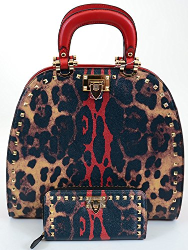 Reilly Pebbled Leopard Print Leatherette Purse Satchel Handbag & Wallet SET
