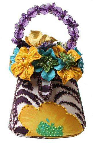 Mary Frances Hula In Hawaii Purple and Yellow Floral Handheld Handbag