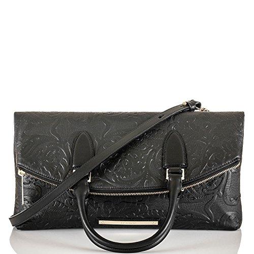 Brahmin Duxbury Fold Over Handbag-Black Saint Germaine