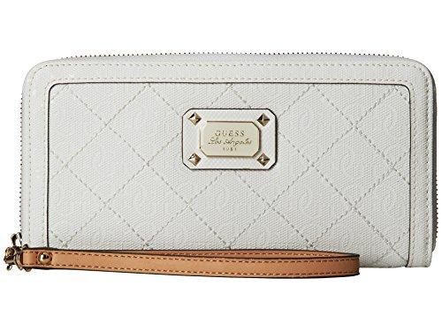 GUESS Women's Juliet Zip-Around Wallet Clutch Bag, White
