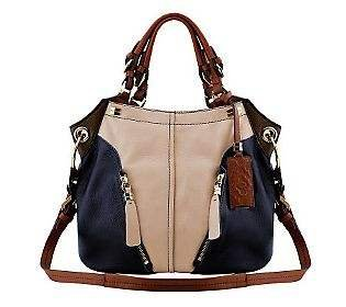 Oryany Sand Multi Pebble Leather Victoria Colorblock Large Hobo Shoulder Bag