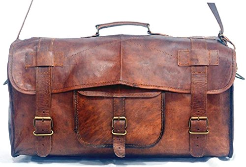 *ECOCRAFTWORLD* 22″ GENUINE LEATHER HANDMADE VINTAGE STYLE DUFFEL BAG /TRAVEL; CABIN. GYM ,