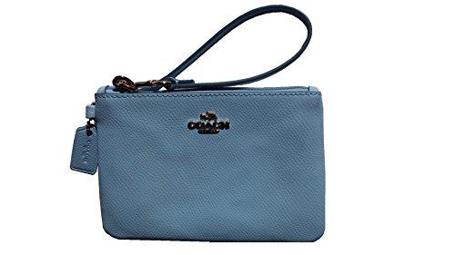 Coach Crossgrain Leather Small Wristlet 52850 Pale Blue