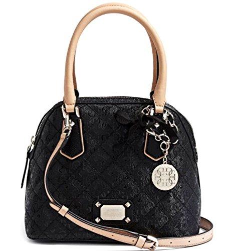 GUESS Women's Juliet Amour Dome Satchel Bag Handbag Tote, BLACK