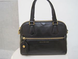 Marc By Marc Jacobs Black Leather Globetrotter Mini Rei Satchel Bag Purse New