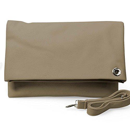 BMC Womens Textured PU Leather Deep Pocket Foldover Fashion Shoulder Handbag