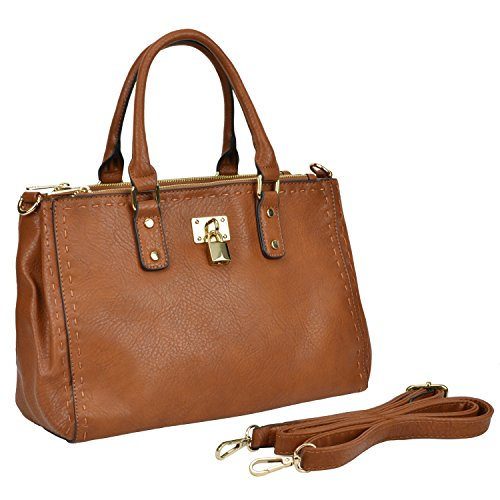 MG Collection MAILI Taupe Stitched Doctor Satchel w/ Gold-Tone Lock Tote Handbag
