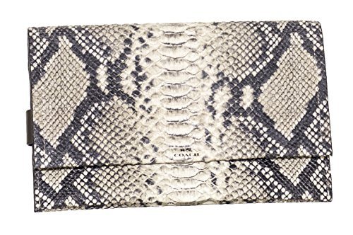 Coach Women's Bleeker Python Embossed Clutch F32641 Black/grey