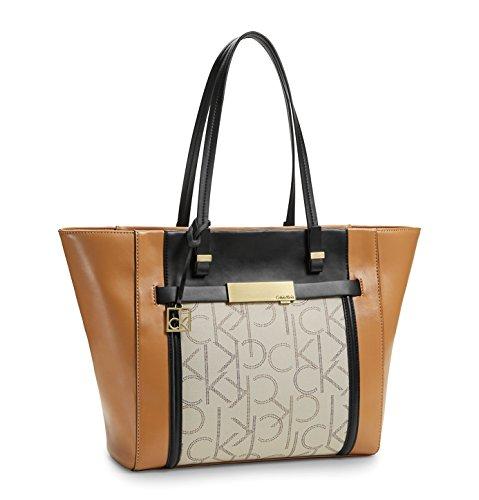 Calvin Klein Addie Traveler Tote Signature Bag Sepia
