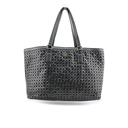 Tory Burch Robinson Basket-Weave Womens Black Purse Leather Tote