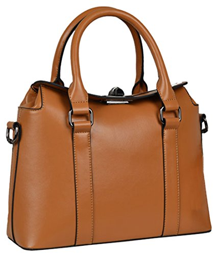 Heshe Women's Genuine Leather Fashion Simple Style Classic Tote Top Handle Cross Body Shoulder Bag Purse Satchel Handbag
