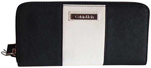 Calvin Klein Saffiano Leather Zip Around Wallet White Black