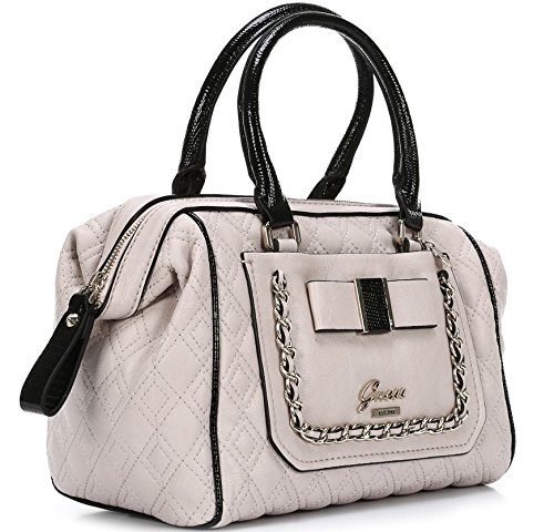 GUESS Logo Dolled Up Quilted Frame Satchel (White)