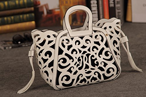Women Faux Pu Synthetic Leather Hollow Carved Handbag Satchel