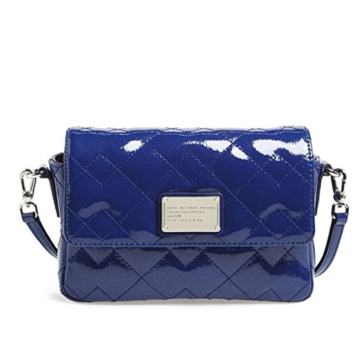 Marc By Marc Jacobs Quilted Julie Patent Leather Crossbody Bag Clutch Scuba Blue