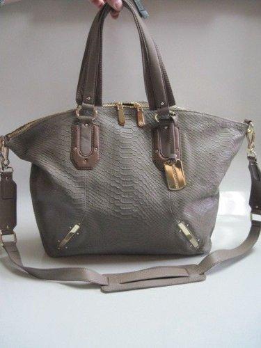 Vince Camuto Annette Taupe Large Leather Satchel Handbag Purse