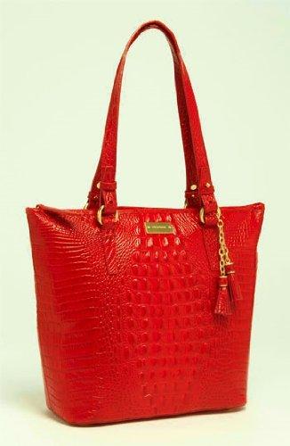 Brahmin Asher Glossy Leather Melbourne Handbag Rouge Pink