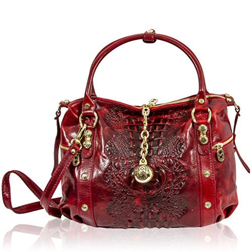 Marino Orlandi Italian Designer Red Alligator Leather Large Crossbody Bag